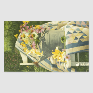 1138 Watering Can on Quilt in Garden Rectangular Sticker