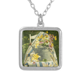 1138 Watering Can on Quilt in Garden Silver Plated Necklace