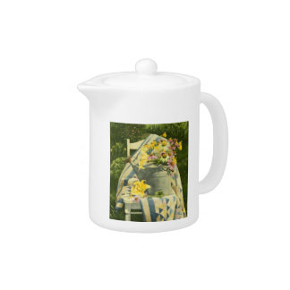 1138 Watering Can on Quilt in Garden Teapot