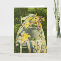 1138 Watering Can on Quilt sympathy Card