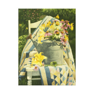 1138 Watering Can on Quilt Wrapped Canvas Print