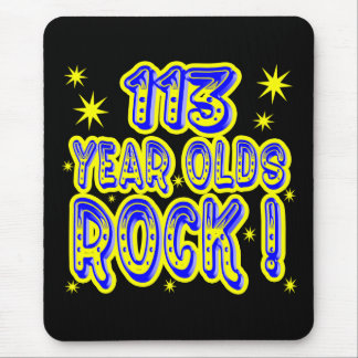 113 Year Olds Rock! (Blue) Mousepad