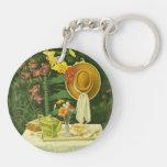1144 Tea Time in Garden Acrylic Keychains
