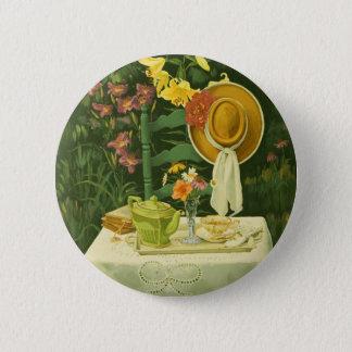 1144 Tea Time in Garden Pinback Button