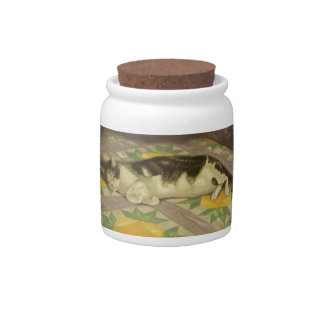 1149 Cat on Quilt Candy Jars