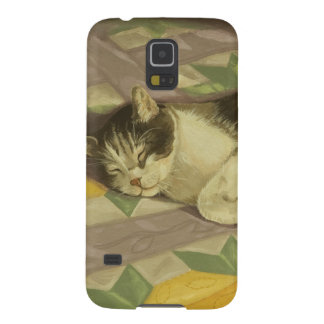 1149 Cat on Quilt Case For Galaxy S5