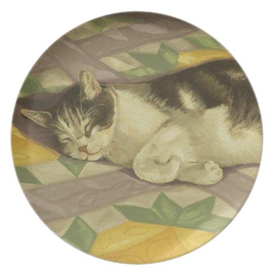 1149 Cat on Quilt Dinner Plate