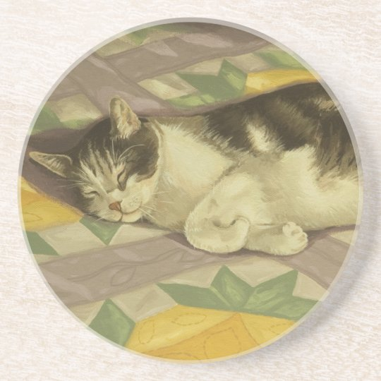 1149 Cat on Quilt Drink Coaster