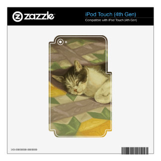 1149 Cat on Quilt iPod Touch 4G Skin