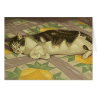 1149 Cat on Quilt Mother's Day Card