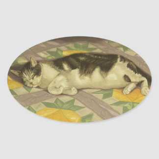 1149 Cat on Quilt Oval Sticker