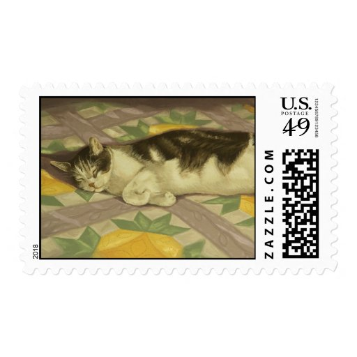 1149 Cat on Quilt Postage