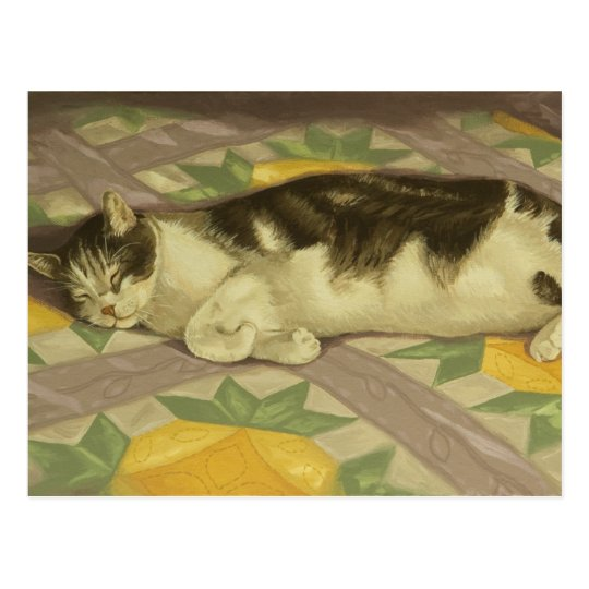 1149 Cat on Quilt Postcard