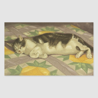 1149 Cat on Quilt Rectangular Sticker