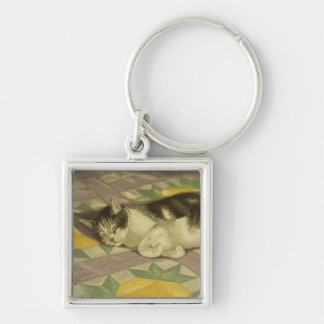 1149 Cat on Quilt Silver-Colored Square Keychain