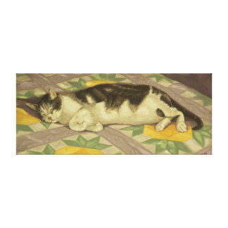 1149 Cat on Quilt Wrapped Canvas Print