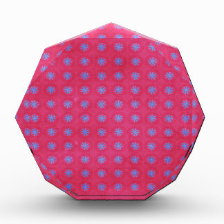 1157 HOT PINK PERIWINKLE BLUE STAR FLOWER PATTERN ACRYLIC AWARD