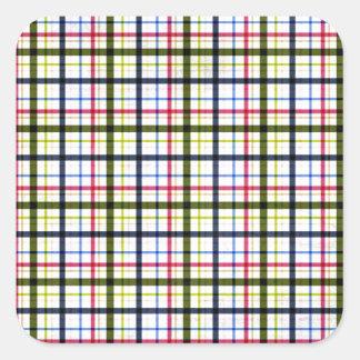 1162_plaid-paper-11-pink- navy_pu PINK NAVY WHITE Square Sticker