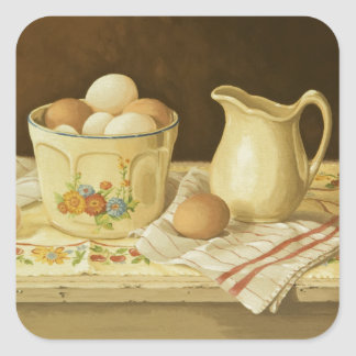 1175 Bowl of Eggs & Pitcher Square Stickers