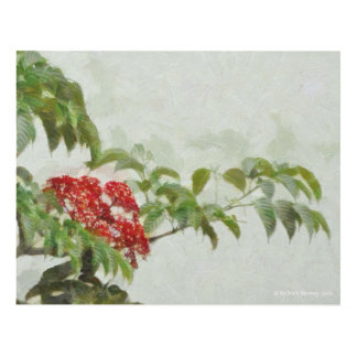 117 BRANCH OF RED AND GREEN PANEL WALL ART