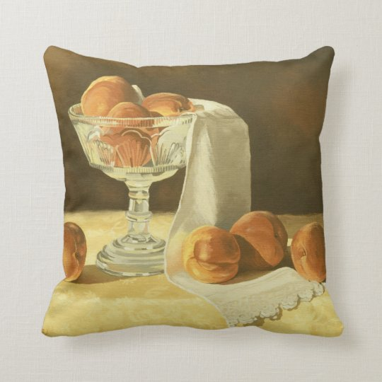 1181 Peaches in Glass Compote Throw Pillow