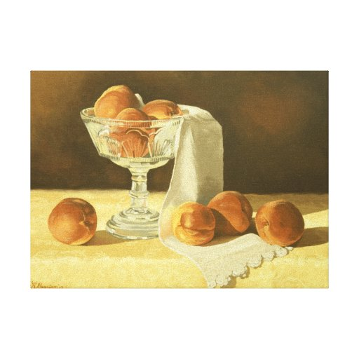 1181 Peaches in Glass Compote Wrapped Canvas Print