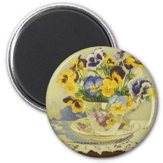 1187 Pansies in Teacup 2 Inch Round Magnet