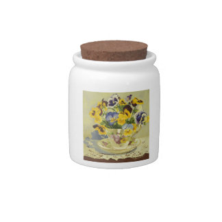 1187 Pansies in Teacup Candy Jar