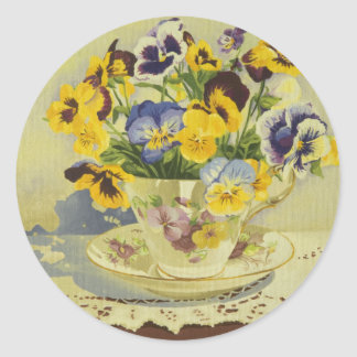 1187 Pansies in Teacup Classic Round Sticker