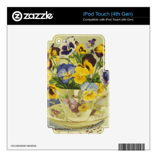 1187 Pansies in Teacup Decals For iPod Touch 4G