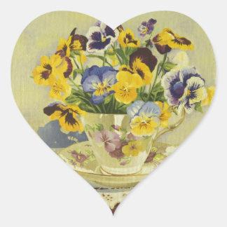 1187 Pansies in Teacup Heart Sticker