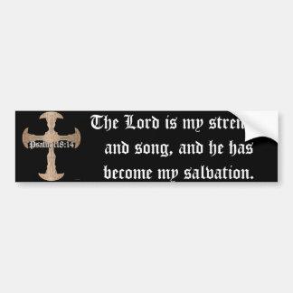 118:14 del salmo - cruz de cobre grabada al agua pegatina de parachoque