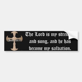 118:14 del salmo - cruz de cobre grabada al agua pegatina para auto