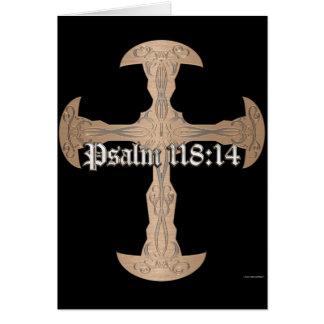 118:14 del salmo - cruz de cobre grabada al agua tarjeta