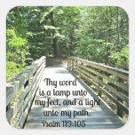 119:105 del salmo Thy palabra es una lámpara… Colcomanias Cuadradas Personalizadas