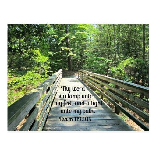 119:105 del salmo Thy palabra es una lámpara… Postales
