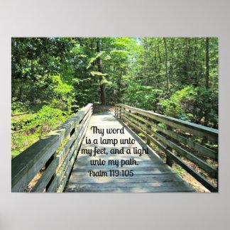 119:105 del salmo Thy palabra es una lámpara… Póster