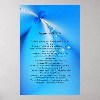 119:97 del salmo - 104, poster cristiano azul de l