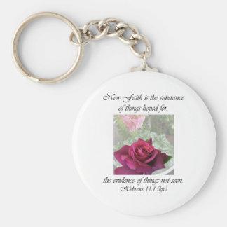 11:1 de los hebreos del ~ del encanto del rosa llavero redondo tipo pin