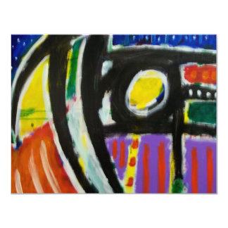 11-9 de octubre abstracto invitación 10,8 x 13,9 cm