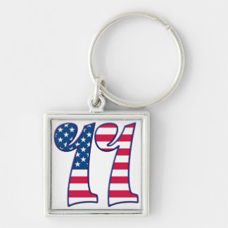 11 Age Rave Silver-Colored Square Keychain