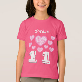 11 Birthday Girl Hearts Big Number Custom Name V10 T-Shirt