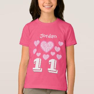 11 Birthday Girl Hearts Big Number Custom Name V10 T-Shirt