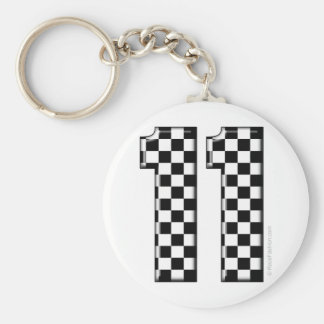 11 checkered auto racing number keychain
