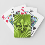 11 Color Choices Metallic Fleur de Lis Look Bicycle Playing Cards