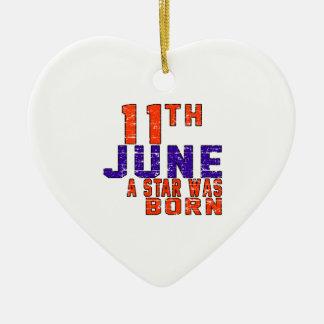 11 de junio una estrella nació adorno de cerámica en forma de corazón