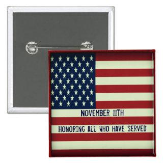 11 de noviembre botón que honra a todos que han se pin cuadrado