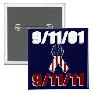 11 de septiembre de 2001 aniversario de diez años pin cuadrada 5 cm