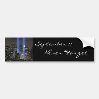 11 de septiembre, torres de la luz pegatina de parachoque