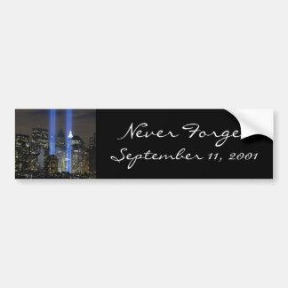 11 de septiembre, torres de la luz etiqueta de parachoque